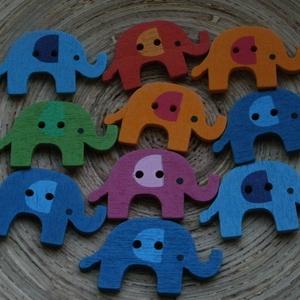10 db-os, elefántos gombcsomag, Dekorációs kellékek, Varrás, Gomb, 10 db-os, 33x20 mm-es, elefántos fagomb csomag, a színekből random válogatva. Scrapbookinghoz, kreat..., Meska