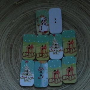 """10 db-os, vegyes \""""karácsonyi téglalap\""""  fagomb csomag, Dekorációs kellékek, Gomb, Varrás, Gomb, 10 db-os, 18x34 mm-es, 2 lyukú fagomb csomag textilekhez, scrapbookinghoz, dekorációhoz, egyéb kreat..., Meska"""