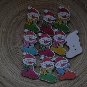10 db-os, vegyes karácsonyi fagomb csomag, Dekorációs kellékek, Gomb, Varrás, Gomb, 10 db-os, 24x33 mm-es, 2 lyukú fagomb csomag textilekhez, scrapbookinghoz, dekorációhoz, egyéb kreat..., Meska