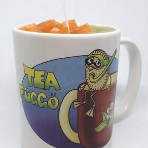 """Dán fűszeres narancs gyertya bögrében, Otthon & lakás, Dekoráció, Lakberendezés, Gyertya, mécses, gyertyatartó, Gyertya-, mécseskészítés, Dán fűszeres narancs illatú gyertya,\""""Tea függő\"""" mintás bögrébe öntve,  illatolajjal készítve. A bögr..., Meska"""