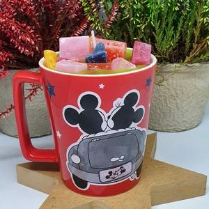 Vegyes gyümölcs illatú gyertya bögrében, Otthon & Lakás, Lakberendezés, Gyertya-, mécseskészítés, Vegyes gyümölcs illatú gyertya Mickey-s bögrébe öntve, angol illatolajjal készítve, hagyományos kanó..., Meska