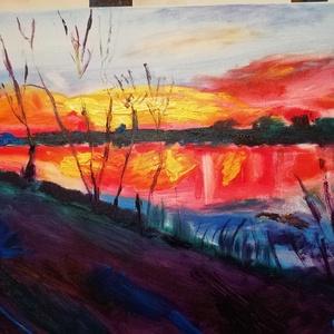 Alkonyi óra, Otthon & lakás, Képzőművészet, Festmény, Festészet, 30 x 40 cm olajkép faroston\n\nA képet a dunaparti hangulat, az alkonyi fények  és a part sötétjének k..., Meska