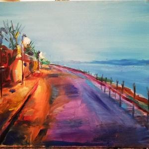 Dunaparti fények, Olajfestmény, Festmény, Művészet, Festészet, 40 x50 cm olajfestmény , festővásznon\n\nA képet a dunaparti hangulat, a hajnali ködös lámpafények ihl..., Meska