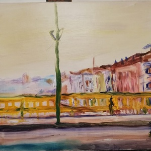 Margit híd, Olajfestmény, Festmény, Művészet, Festészet, 30 x 40 cm olajfestmény faroston, Meska