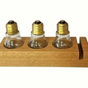 Spicely1 Kézműves tölgyfa fűszertartó 3 db üveggel 21x7x10 cm, 0,5 kg, Otthon & Lakás, Tárolás & Rendszerezés, Famegmunkálás, Tartó mérete üvegek nélkül: 21*7*4 cm, üvegekkel 21*7*10 cm magas..\nSúly (tartó + 3 db üres üveg szó..., Meska