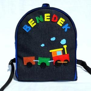 Vonatos hátizsák, Táska & Tok, Hátizsák, Hátizsák, Rendelésre készült ez a szép színes kis táska.   Farmer és pamut alapanyagból, filc rátéttel készült..., Meska