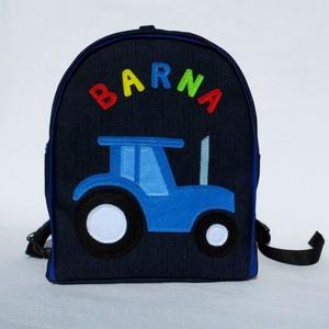 Névre szóló traktoros hátizsák, Ovis hátizsák, Ovis zsák & Ovis szett, Játék & Gyerek, Varrás, Rendelésre készült ez a szép színes kis táska.\nHa neked is tetszik, szívesen készítek hasonlót tetsz..., Meska