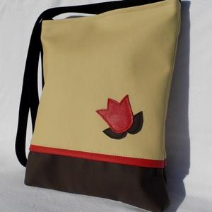 Tulipános táska, Táska & Tok, Vállon átvethető táska, Kézitáska & válltáska, Varrás, Meska