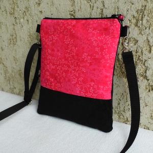 Pink-fekete női kistáska, Vállon átvethető táska, Kézitáska & válltáska, Táska & Tok, Varrás, Sportos kis női divattáska.\n\nAlapanyaga mintás pamutvászon és fekete kordbársony.\nVlieselinnel, vate..., Meska