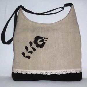 Női táska népi motívummal, Táska & Tok, Vállon átvethető táska, Kézitáska & válltáska, Varrás, Meska