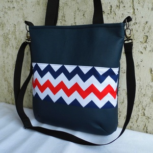 Cikk-cakkos táska matróz színekben , Táska & Tok, Kézitáska & válltáska, Válltáska, Varrás, Meska