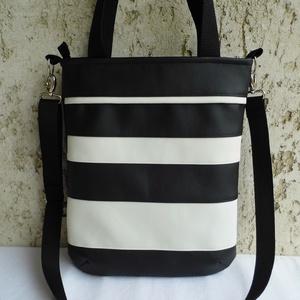 Fekete-fehér csíkos női táska, Táska & Tok, Válltáska, Kézitáska & válltáska, Varrás, Meska