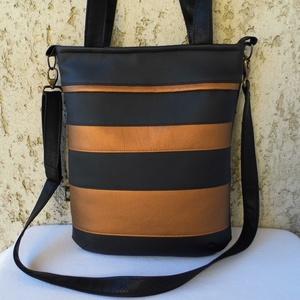 Fekete-bronz csíkos női táska, Táska & Tok, Kézitáska & válltáska, Válltáska, Varrás, Meska