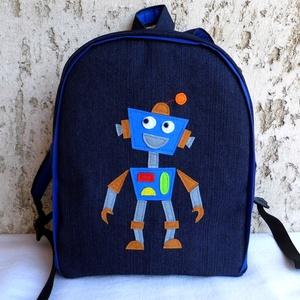 Robotos hátizsák , Táska & Tok, Kishátizsák, Hátizsák, Farmer és pamut anyagból készült ez a kis  táska, az elejére a mintát filcből szabtam. A jó tartás é..., Meska