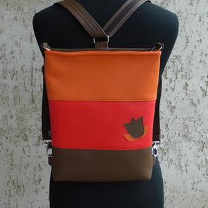 Háromszínű tulipános táska/ hátitáska - táska & tok - variálható táska - Meska.hu