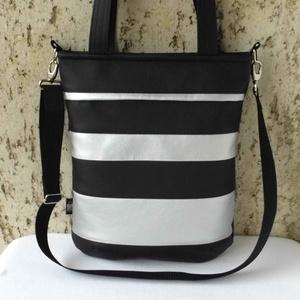 Fekete-ezüst csíkos női táska, Táska & Tok, Válltáska, Kézitáska & válltáska, Praktikus, jól pakolható, divatos női táska.  Alapanyaga fekete és ezüst színű textilbőr. Vatelinnel..., Meska