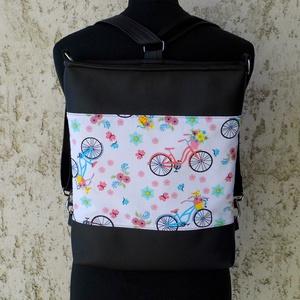 Biciklis hátitáska - textilbőr pánttal, Táska & Tok, Variálható táska, Sportosan elegáns női válltáska, ami pár apró mozdulattal könnyen hátitáskává alakítható. Alapanyaga..., Meska