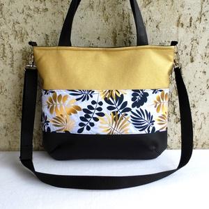 Női táska / arany-fekete, Táska & Tok, Kézitáska & válltáska, Válltáska, Elegáns, jól pakolható, divatos női táska. Alapanyaga arany és fekete színű textilbőr és mintás pamu..., Meska