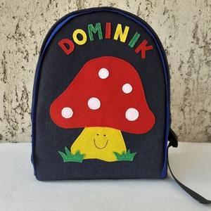 Gombás hátizsák , Táska & Tok, Hátizsák, Kishátizsák, Varrás, Farmer és pamut anyagból készült ez a vagány kis  táska, az elejére a mintát filcből szabtam.\nA jó t..., Meska