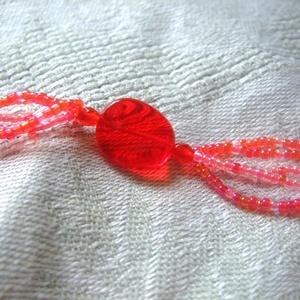 Nyalóka piros nyári nyaklánc és fülbevaló szett  (Smilylana) - Meska.hu