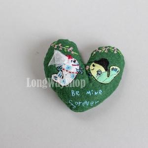 Légy örökre az enyém! szív alakú hímzett dísz (Smilylana) - Meska.hu