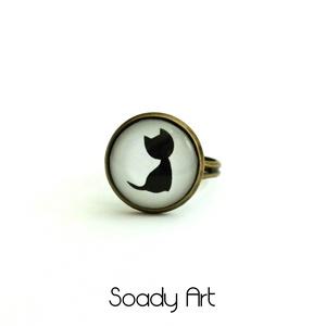 Fekete-fehér, cica gyűrű  (Soadyart) - Meska.hu