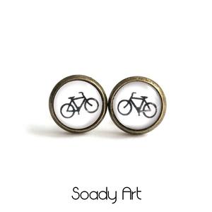 Fekete-fehér, biciklis fülbevaló (Soadyart) - Meska.hu
