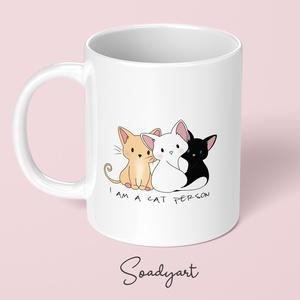 I am a cat person cicás bögre, Otthon & Lakás, Bögre & Csésze, Konyhafelszerelés, Kerámia, Fotó, grafika, rajz, illusztráció, Meska