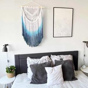 """Makramé falidísz """"Blue Sky"""" , Otthon & Lakás, Dekoráció, Falra akasztható dekor, Makramé technikával kézzel készített egyedi fali dekoráció. Különleges textúrát ad minden helyiséghe..., Meska"""