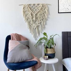 """Makramé falidísz \""""Big Boho\"""", Falra akasztható dekor, Dekoráció, Otthon & Lakás, Csomózás, Makramé technikával kézzel készített egyedi fali dekoráció.\nKülönleges textúrát ad minden helyiséghe..., Meska"""