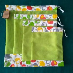 Gyümis zöld szütyő, Zöldség/Gyümölcs zsák, Bevásárlás & Shopper táska, Táska & Tok, Varrás, Újrahasználható 4 db-os szütyőcsomagot kínálok XS-től L méretig. /XS: 18x22 cm, S: 20x25 cm, M 25x30..., Meska