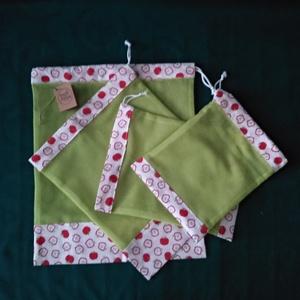 Alma mintás zöld szütyő - táska & tok - bevásárlás & shopper táska - zöldség/gyümölcs zsák - Meska.hu