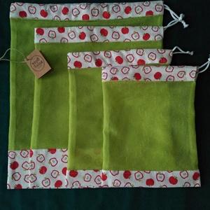 Zöld-szütyő, Zöldség/Gyümölcs zsák, Bevásárlás & Shopper táska, Táska & Tok, Varrás, Újrahasználható szütyőcsomagot kínálok XS-től L méretig. /XS: 18x22 cm, S: 20x25 cm, M: 25x30 cm, L:..., Meska