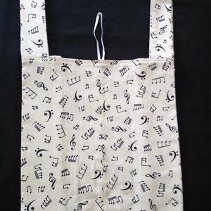 Hangjegyes bélelt bevásárló táska, Táska & Tok, Bevásárlás & Shopper táska, Shopper, textiltáska, szatyor, Szeretném megkedveltetni veled a bélelt, pamut bevásárló táskámat, melyet picire összehajtogatva vih..., Meska