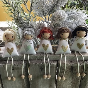 ANGYALKÁK fehėr selyem ruhában, Karácsony & Mikulás, Karácsonyi dekoráció, Ha szereted az angyalok világát, akkor Neked ajánlom Őket, ezeket a bájos teremtményeket.  Ruhájuk h..., Meska
