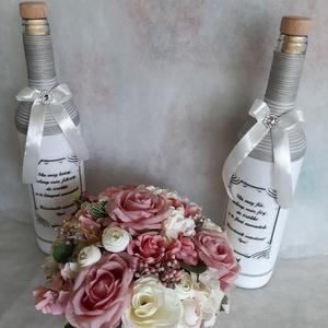 Rózsaszin köszöntő, Esküvő, Esküvői dekoráció, Esküvői csokor, Virágkötés, Baba-és bábkészítés, Szeretnél névnapra, keresztelőre, házavatóra, ballagásra, vagy eskűvőre édesanyának, nagymamának, éd..., Meska