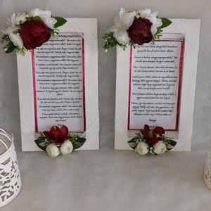 Bordó és fehér  , Esküvő, Szülőköszöntő ajándék, Emlék & Ajándék, Nagyszülők köszöntésére kédszült képkeret, melyeket csipkével és selyem virággal díszitettem. Mérrte..., Meska