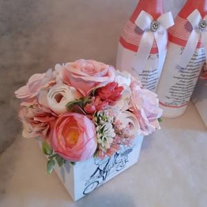 Rózsaszín romantika, Esküvő, Dekoráció, Asztaldísz, Virágkötés, Szeretnél névnapra, keresztelőre, házavatóra, ballagásra, vagy eskűvőre édesanyának, nagymamának, éd..., Meska