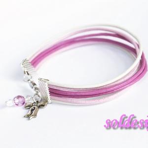 Pink-fehér bőr karkötő (soldi) - Meska.hu