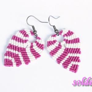 Színes csomózott fülbevaló - pink-fehér (soldi) - Meska.hu