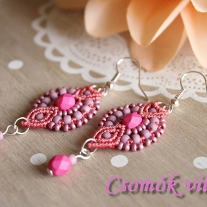 Pink és mályva - makramé fülbevaló (soldi) - Meska.hu