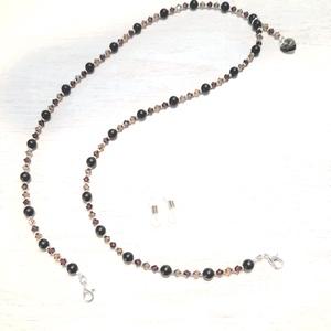 Maszktartó / szemüvegtartó / fekete Achát - Swarovski gyöngy nyaklánc, Maszk, Arcmaszk, Női, Ékszerkészítés, 6 mm-es fekete Achát és 4 mm-es Swarovski kristály gyöngyökből készült nyaklánc, mely hordható maszk..., Meska