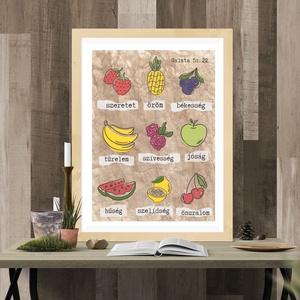 Igés kép- Szellem gyümölcsei, Művészet, Grafika & Illusztráció, Fotó, grafika, rajz, illusztráció, Mindig szerettem volna egy ilyet az ebédlő-konyhánkba.  Valahogy sokszor ott kerülnek felszínre, a g..., Meska