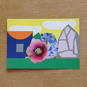 -25% Nyári akció! Színes papír kollázs, Otthon & lakás, Képzőművészet, Vegyes technika, Papírművészet, 14,7 x 21 cm méretű színes papír kollázs, különböző, részben újrahasznosított papírokból összeragasz..., Meska