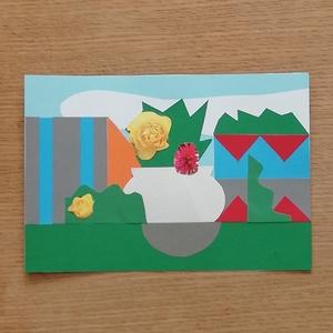 -25% Tavaszi akció! Színes papír kollázs, Otthon & lakás, Képzőművészet, Vegyes technika, Papírművészet, 14,7 x 21 cm méretű színes papír kollázs, különböző, részben újrahasznosított papírokból összeragasz..., Meska