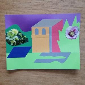 -25% Nyári akció! Színes papír kollázs, Otthon & lakás, Képzőművészet, Vegyes technika, Papírművészet, 15 x 20 cm méretű színes papír kollázs, különböző, részben újrahasznosított papírokból összeragasztv..., Meska