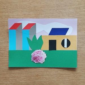-25% Nyári akció! Színes papír kollázs, Otthon & lakás, Képzőművészet, Vegyes technika, Papírművészet, 13 x 18 cm méretű színes papír kollázs, különböző, részben újrahasznosított papírokból összeragasztv..., Meska