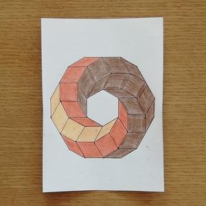 Geometria - Toll és színes ceruza rajz, Otthon & lakás, Képzőművészet, Grafika, Rajz, Fotó, grafika, rajz, illusztráció, 18 x 13 cm méretű toll és színes ceruza rajz. 2020-ban készült. Szignó a hátoldalán (Sós József)...., Meska