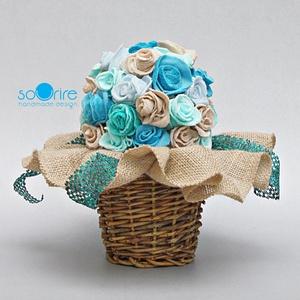 Textil rózsa, Otthon & Lakás, Dekoráció, Csokor & Virágdísz, Mindenmás, Textilből egyesével készítettem a rózsákat, melyet egy csokorba szedtem. 9 x 9 cm négyzet alakú több..., Meska