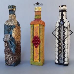 Egyedi üvegek, Otthon & lakás, Képzőművészet, Vegyes technika, Férfiaknak, Festett tárgyak, Üvegművészet, Megrendelésre készítettem egyedi elképzelés szerint ezeket a pálinkás üvegeket. A kommersz üvegeket ..., Meska